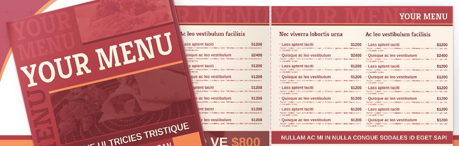 takeout menu templates free