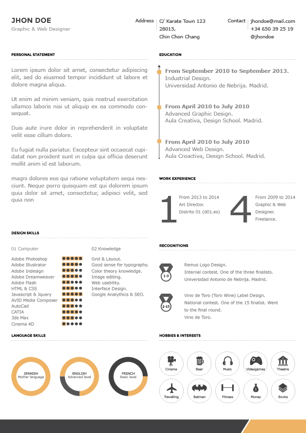 yellow corporate cv