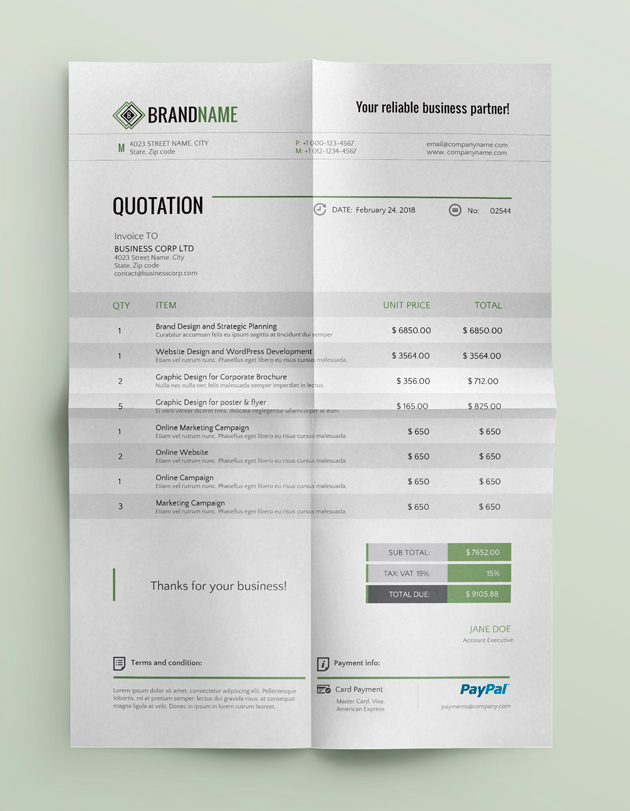 Corporate Quotation Template