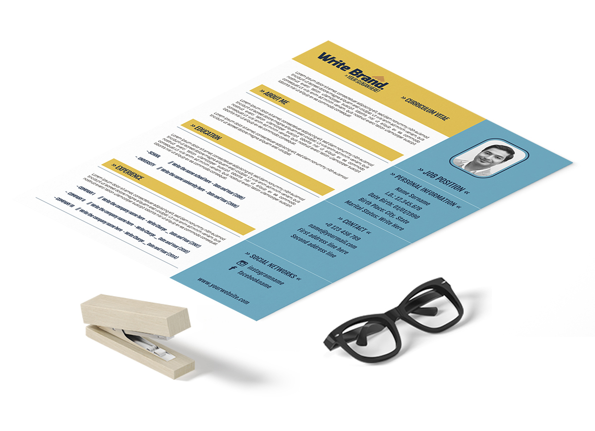blue and yellow cv template